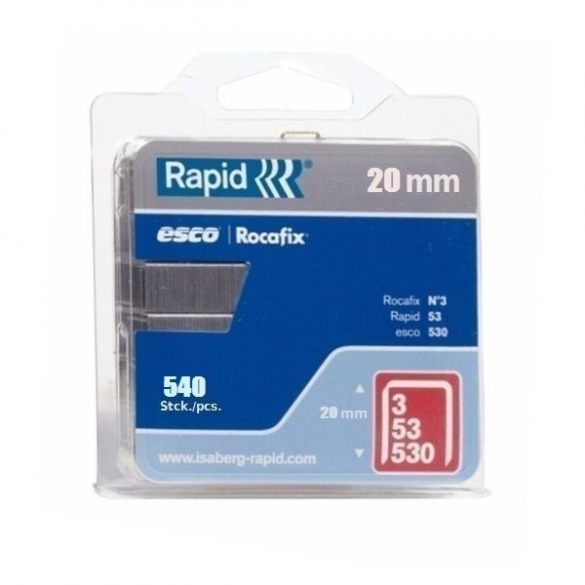Capse Rapid 53/20 mm, galvanizate, 540/ blister-big