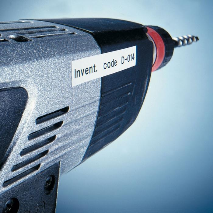 Etichete autocolante plastifiate, DYMO LabelManager D1, 19mm x 7m, negru/alb, 10 buc/set, DY45803 S0720830 2093098-big