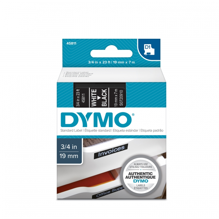 Banda D1 19 mm x 7 m, alb / negru, DYMO DY 45811 DY45811 S0720910-big