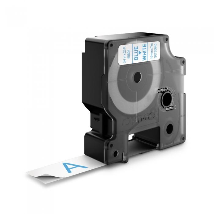Etichete autocolante plastifiate, DYMO LabelManager D1, 19mm x 7m, albastru/alb, 45804 S0720840-big