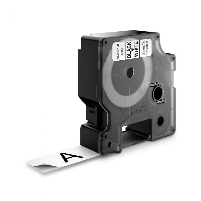 Etichete autocolante plastifiate, DYMO LabelManager D1, 19mm x 7m, negru/alb, 45803 S0720830-big