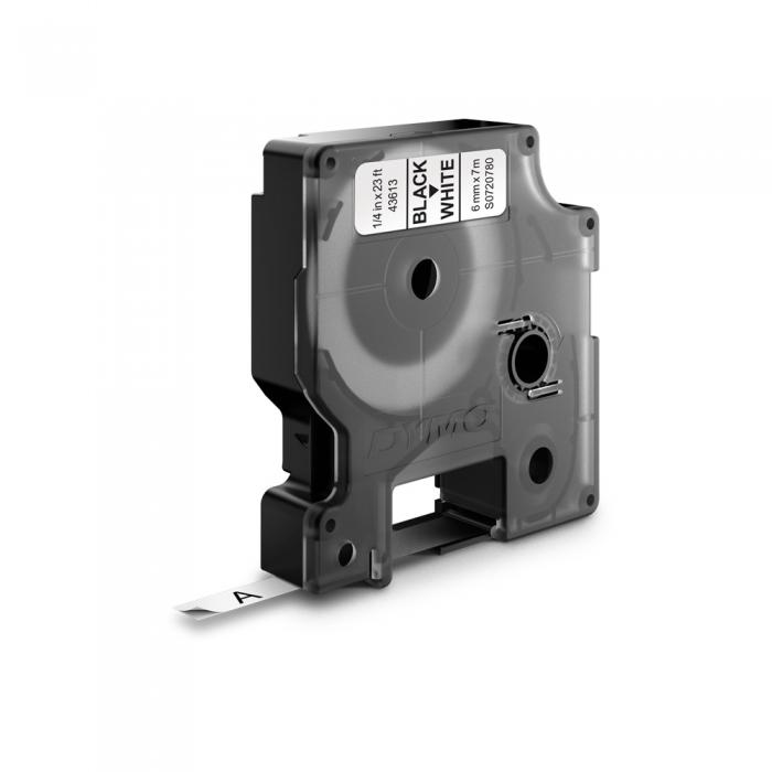 Etichete autocolante, DYMO LabelManager D1, 6mm x 7m, negru/alb, 43613, S0720780-big