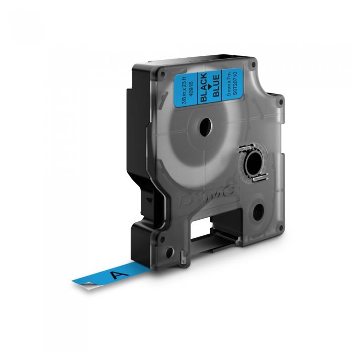 DYMO LabelManager D1 labels, 9mm x 7m, black on blue, 40916, S0720710-big