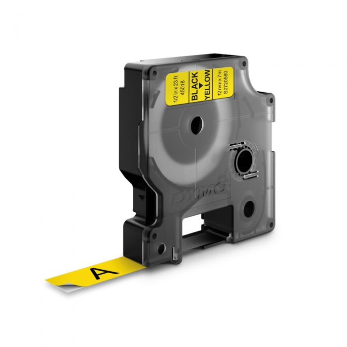 Etichete autocolante, DYMO LabelManager D1, 12mm x 7m, negru/galben, 45018, S0720580-big