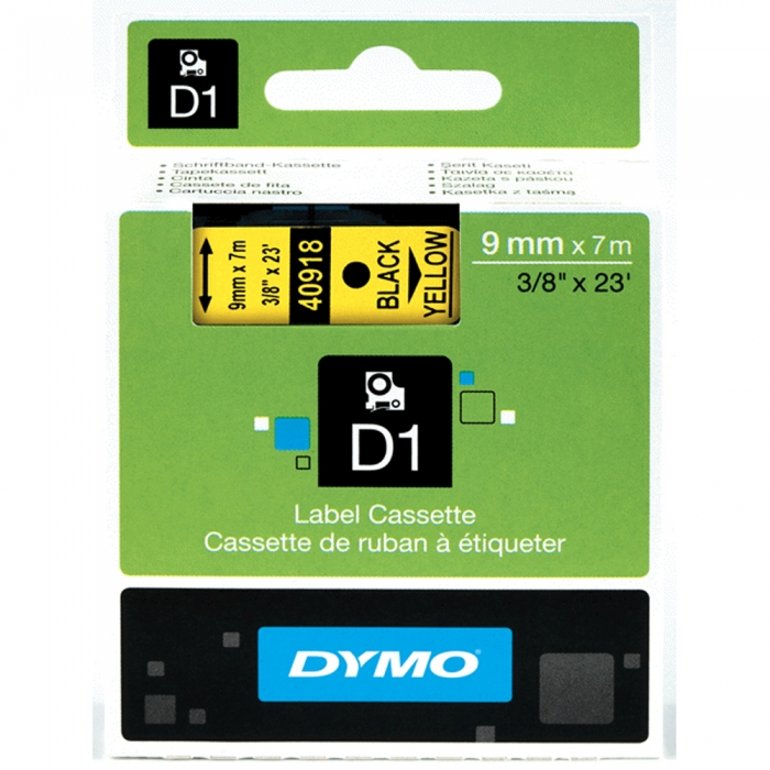 DYMO LabelManager D1 labels, 9mm x 7m, black on yellow, 40918, S0720730-big
