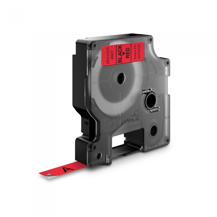DYMO LabelManager D1 labels, 9mm x 7m, black on red, 40917, S0720720-big