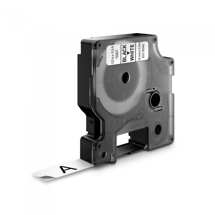 Etichete autocolante, DYMO LabelManager D1, nailon flexibil, 12mm x 3.5m, negru/alb, 16957 S0718040 S0718050-big