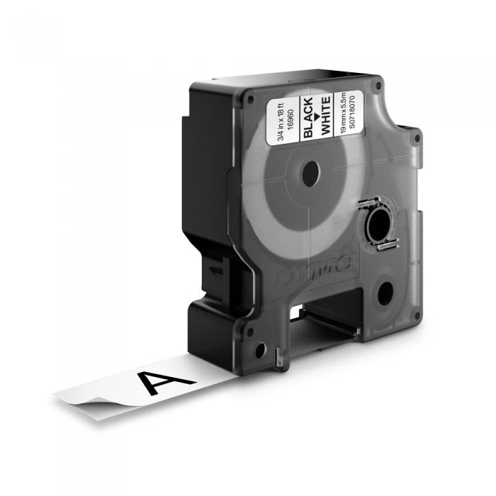 Banda D1 19 mm x 5,5 m, negru / alb, poliester permanent, DYMO cod DY 16960-big
