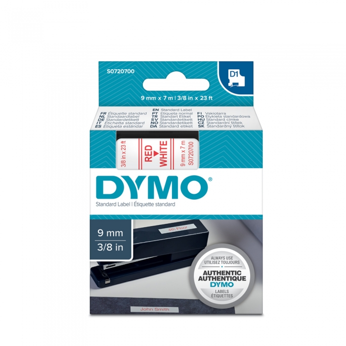 DYMO LabelManager D1 labels, 9mm x 7m, red on white, 40915, S0720700-big