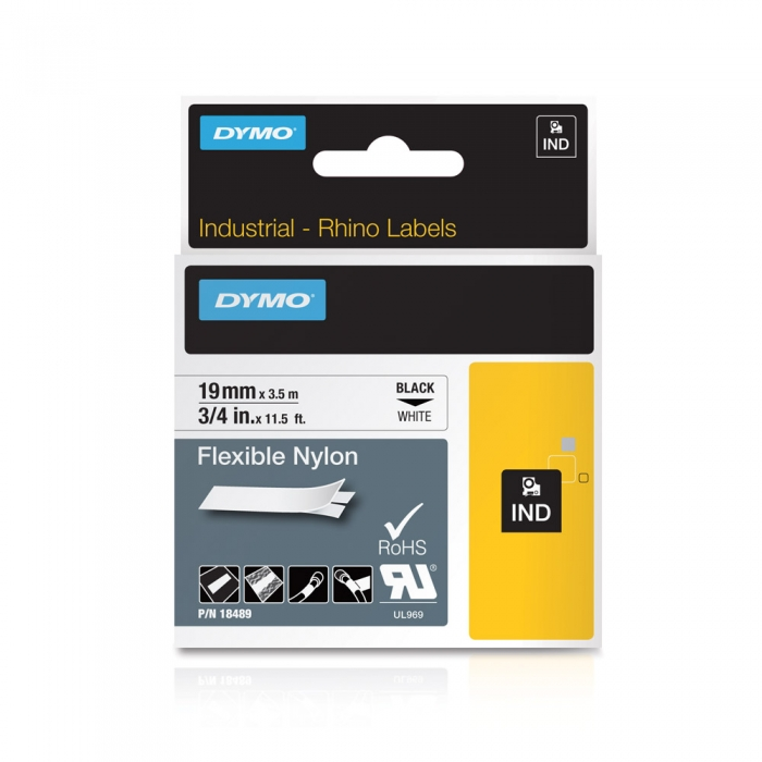 Banda ID1, nylon flexibil, 19 mm x 3,5 m, negru/alb, DYMO DY 18489 DY18489-big