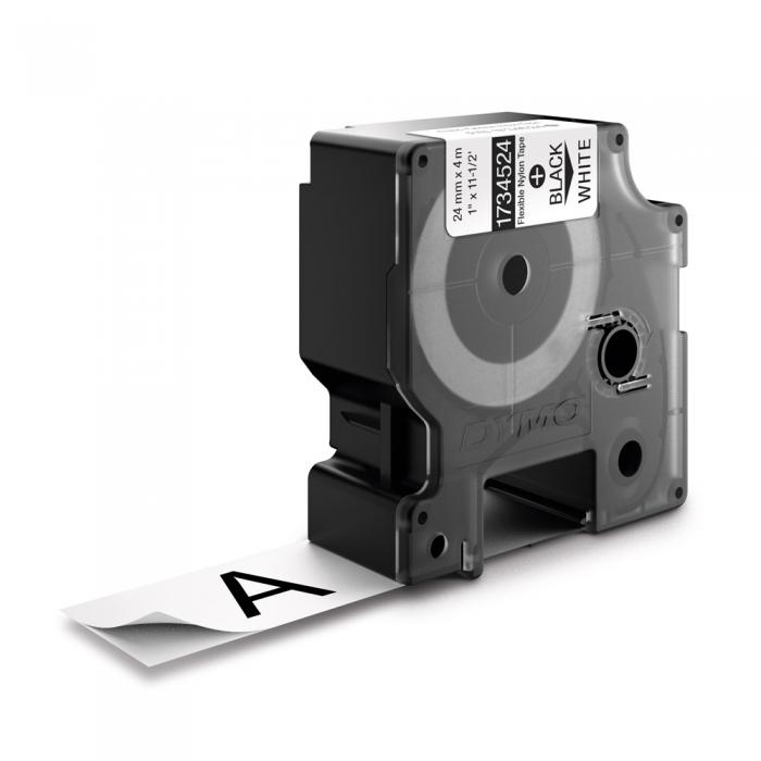 Etichete industriale autocolante, DYMO ID1, nailon flexibil, 24mm x 3.5m, negru/alb, 1734524 S0773840-big