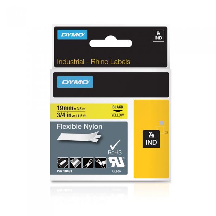 Etichete industriale autocolante, DYMO ID1, nailon flexibil, 19mm x 3.5m, negru/galben, 18491-big