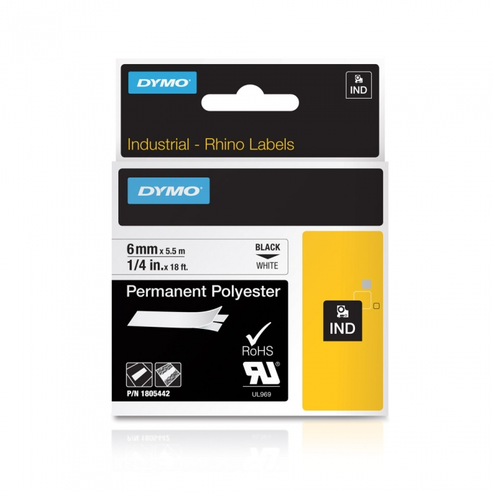 Etichete industriale autocolante, DYMO ID1, poliester permanent, 6mm x 5.5m, negru/alb, 1805442-big