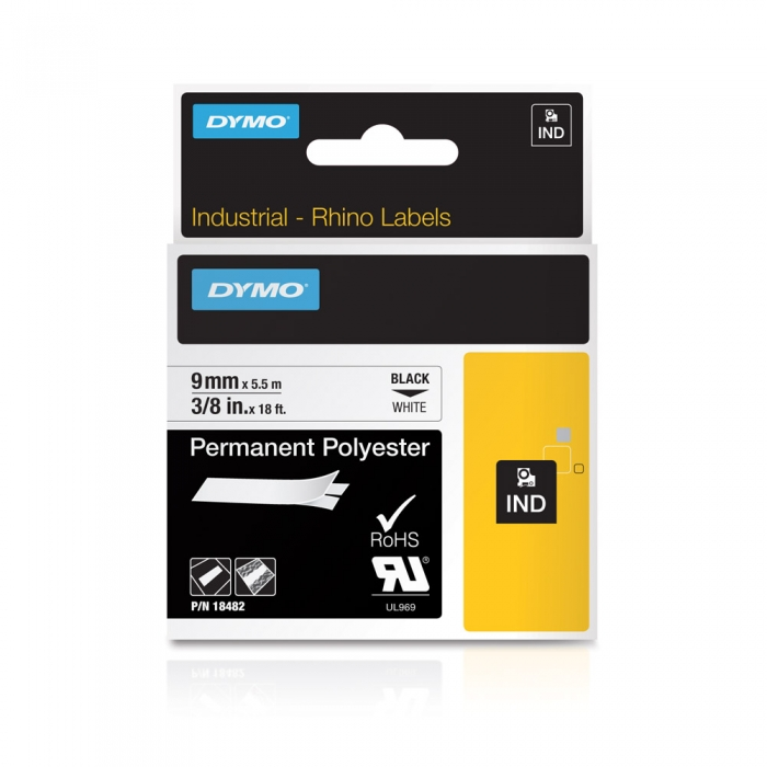 DYMO industrial ID1 polyester permanent labels, 9mm x 5.5m, black on white, 18482-big