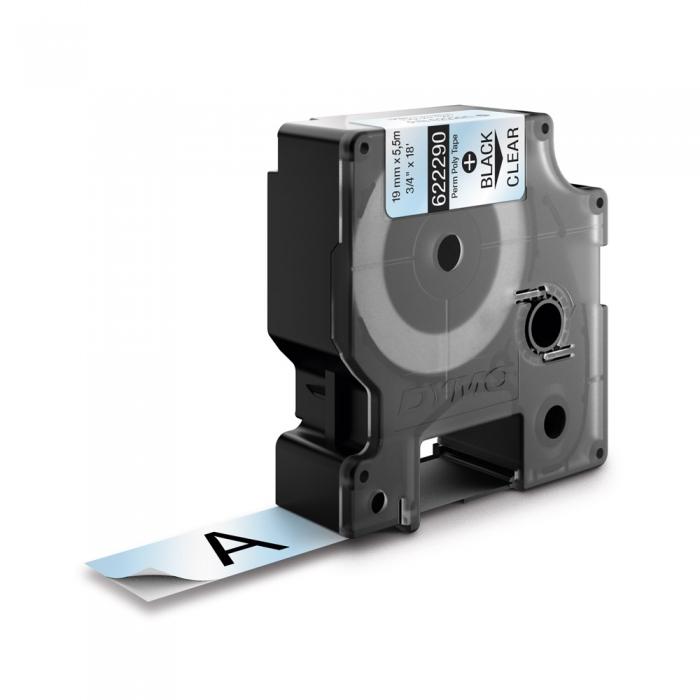 Etichete industriale autocolante, DYMO ID1, poliester permanent, 19mm x 5.5m, negru/transparent, 622290-big