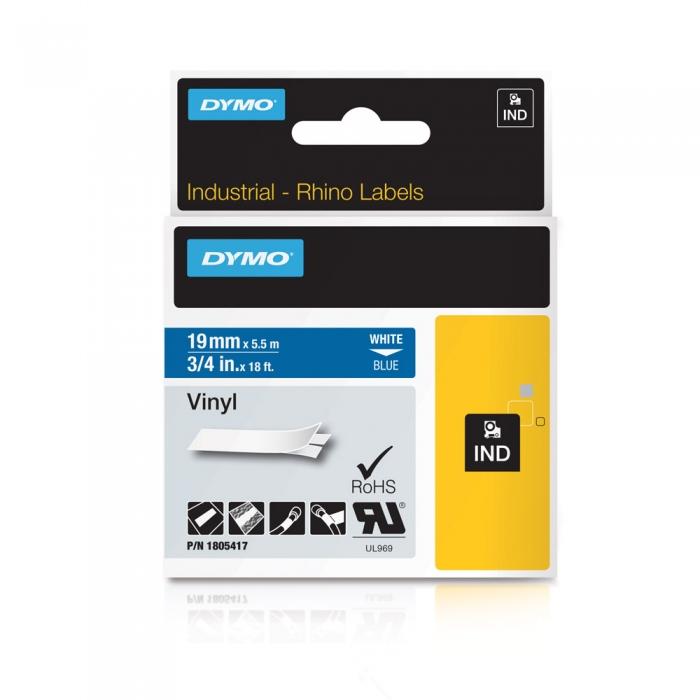 Etichete industriale autocolante, DYMO ID1 vinil, 19mm x 5.5m, alb/albastru, 1805417-big