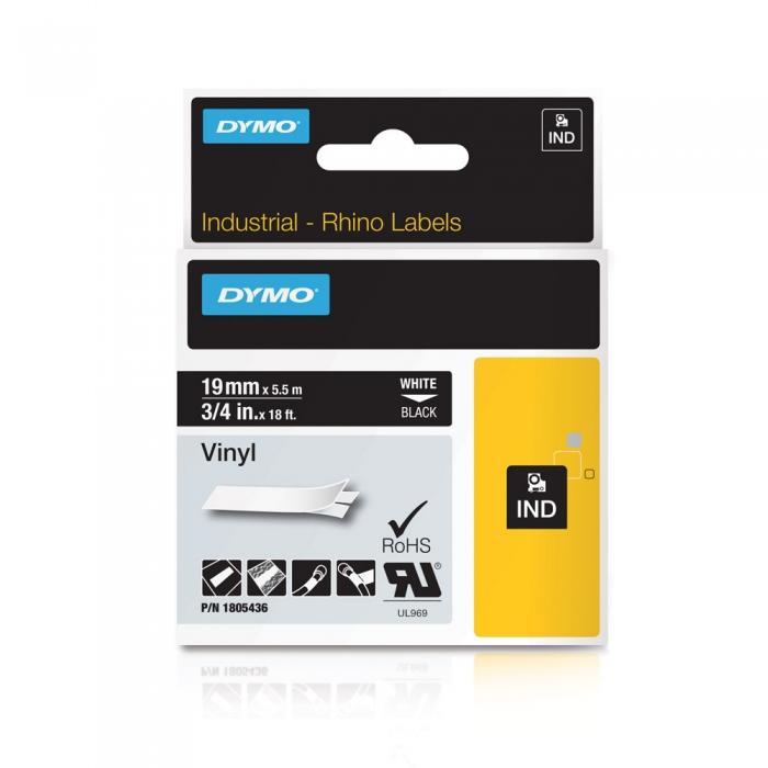 Banda ID1, vinil, 19 mm x 5,5 m, alb/negru, DYMO DY 1805436 DY1805436-big