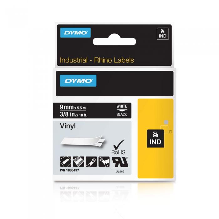 Banda ID1, vinil, 9 mm x 5,5 m, alb/negru, DYMO DY 1805437 DY1805437-big