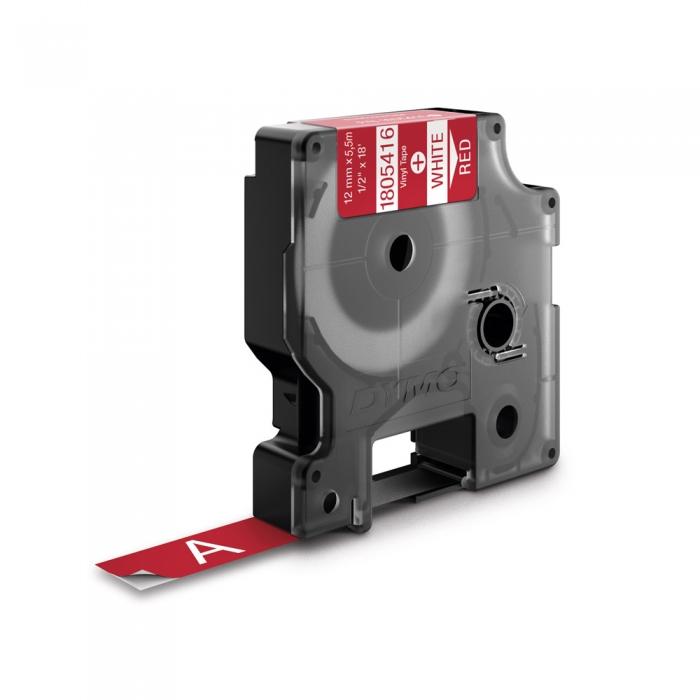 Etichete industriale autocolante, DYMO ID1 vinil, 12mm x 5.5m, alb/rosu, 1805416-big