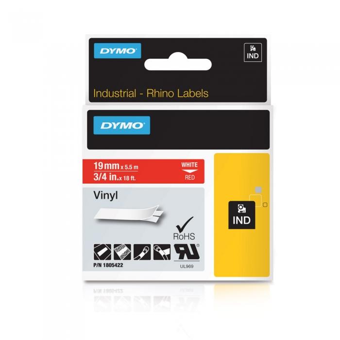 Etichete industriale autocolante, DYMO ID1 vinil, 19mm x 5.5m, alb/rosu, 1805422-big