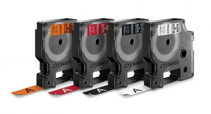 Etichete autocolante industriale, DYMO LabelManager Durable, 12mm x 3m, alb/negru, 1978365-big