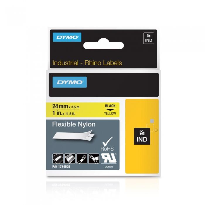 Banda ID1, nylon flexibil, 24 mm x 3,5 m, negru/galben, DYMO DY 1734525 DY1734525-big