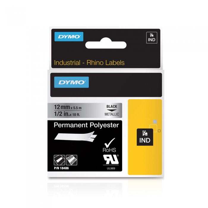 Etichete industriale autocolante, DYMO ID1, poliester permanent, 12mm x 5.5m, negru/argintiu metalizat, 18486-big