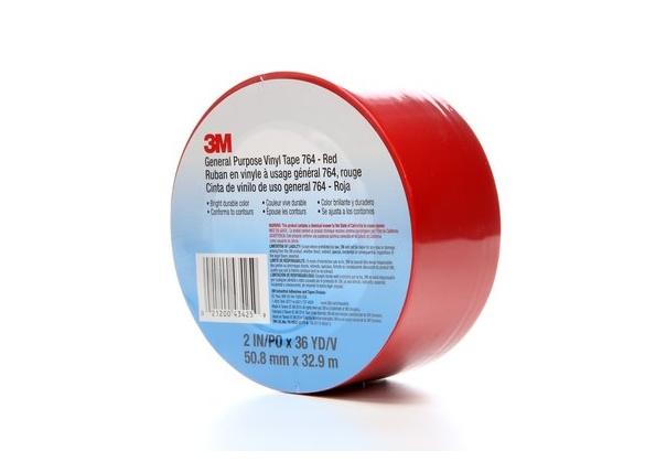 Banda marcare/protectie, 1 culoare, 3M 764I vinil, rosu, 50mm X 33m, 24 role/cutie-big