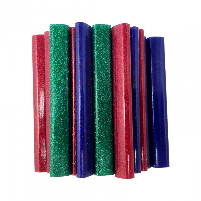 Rapid Oval Low temp Glue Stick Coloured,9mmx94mm, sclipici red, blue, gren, 125g, blister-big