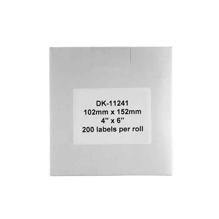 Etichete termice autocolante transport, compatibile, Brother DK-11241, hartie alba, permanente, 102mmx152mm, 200 etichete/rola, suport din plastic inclus DK11241-C-big
