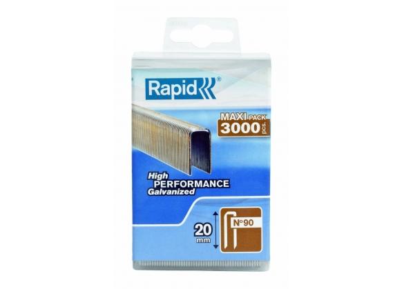 Capse Rapid 90/20 mm, galvanizate, cu rasina, 3.000/ cutie polipropilena-big