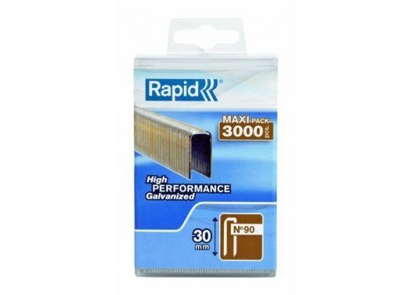 Capse Rapid 90/30 mm, galvanizate, cu rasina, 3.000/ cutie polipropilena-big