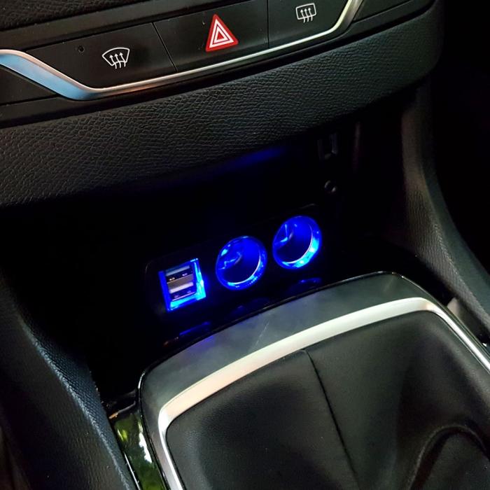 Adaptor spliter auto Olesson, 2 cai fixe + 2 USB, iluminate LED, 1637-big