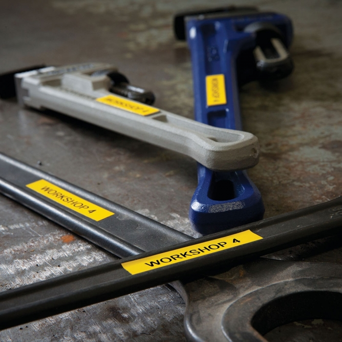 Etichete industriale autocolante compatibile, DYMO ID1, nailon flexibil, 12mm x 3.5m, negru/galben, 18490 18490-C-big