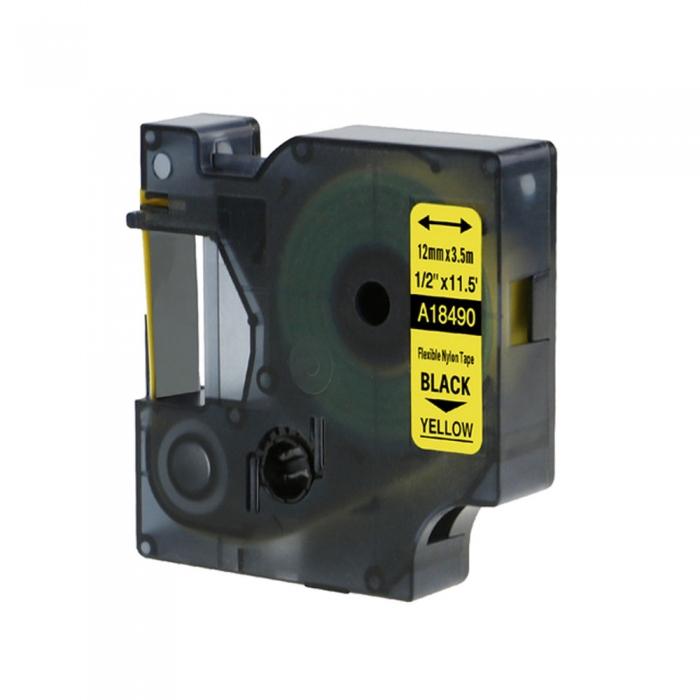 DYMO industrial ID1 flexible nylon compatible labels, 12mm x 3.5m, black on yellow, 18490 18490-C-big