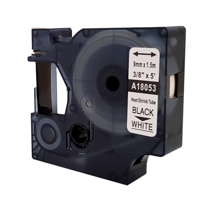 Tub termocontractant compatibil ID1, 9 mm x 1,5 m, negru/alb, DYMO DYA 18053 DYA18053 A18053-big
