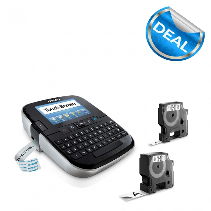 Aparat de etichetat Touch Screen DYMO LabelManager 500TS si o caseta etichete profesionale, 9mmx7m, negru/alb, S0946420 S0946450-big