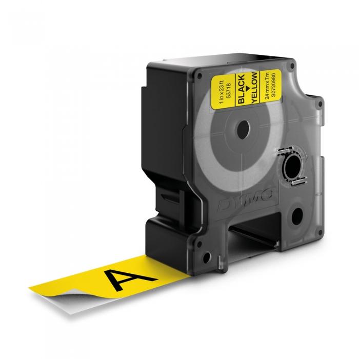 Etichete autocolante plastifiate, DYMO LabelManager D1, 24mm x 7m, negru/galben, 53718 S0720980-big