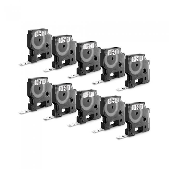 Etichete autocolante, DYMO LabelManager D1, 6mm x 7m, negru/alb, 10 buc/set, 43613 DY43613-big
