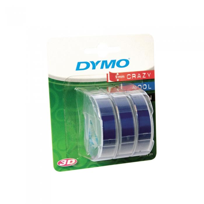 Etichete plastic embosabile DYMO Omega, 9mmx3m, albastru, 3buc/set, S0847740 S0898140 DY898140-big