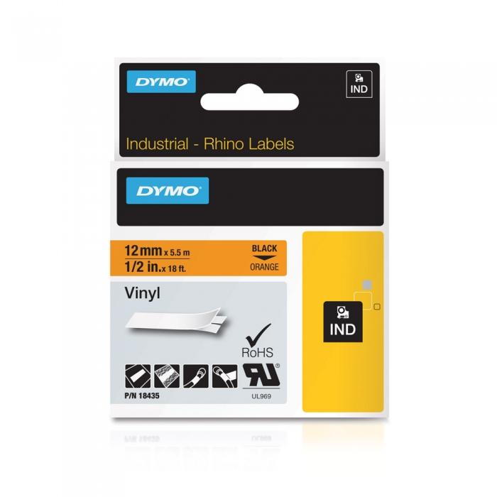 Etichete industriale autocolante, DYMO ID1 vinil, 12mm x 5.5m, negru/portocaliu, 18435 S0718490-big
