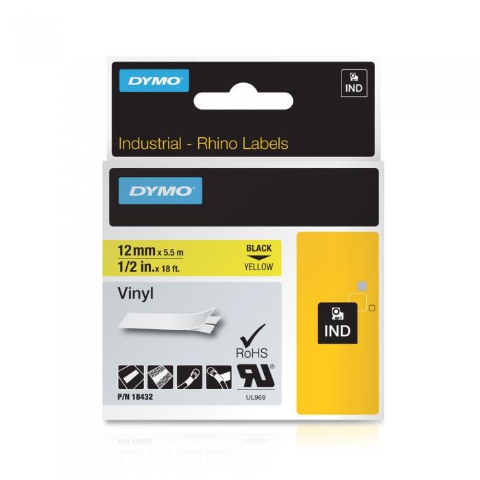 Etichete industriale autocolante, DYMO ID1 vinil, 12mm x 5.5m, negru/galben, 18432-big