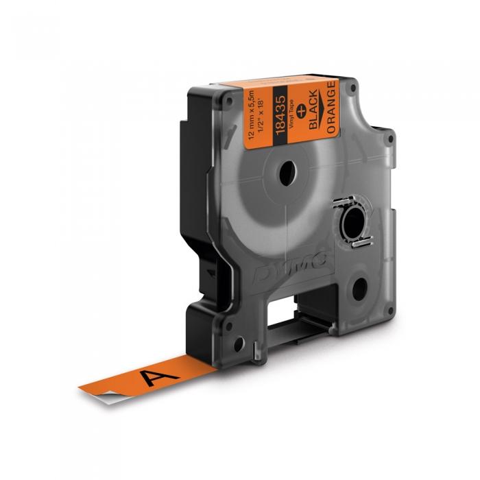 Etichete industriale autocolante, DYMO ID1 vinil, 19mm x 5.5m, negru/portocaliu, 18436 S0718500-big