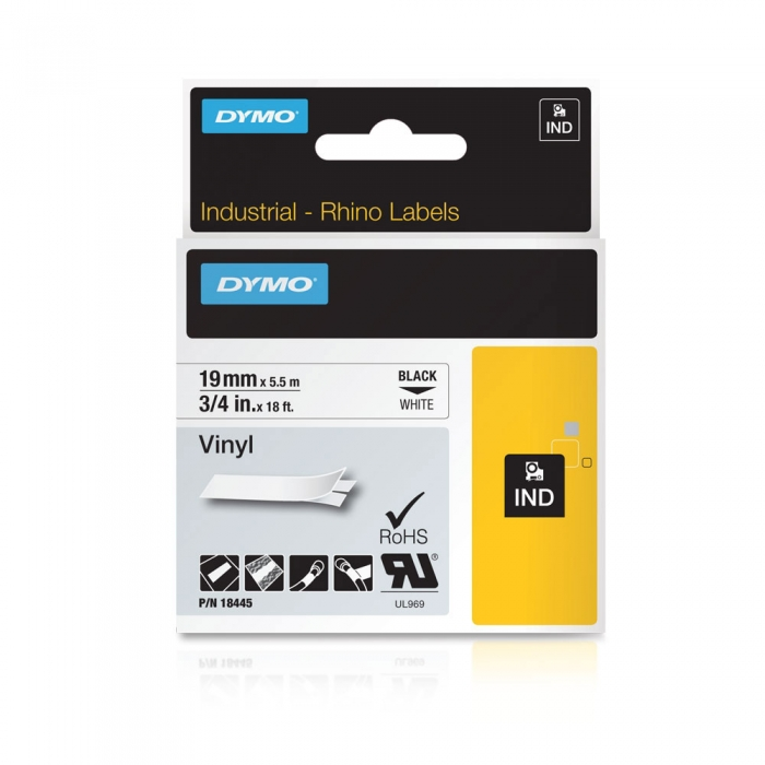 DYMO industrial, All purpose vinyl labels, 19mm x 5.5m, black on white, 18445 S0718620-big