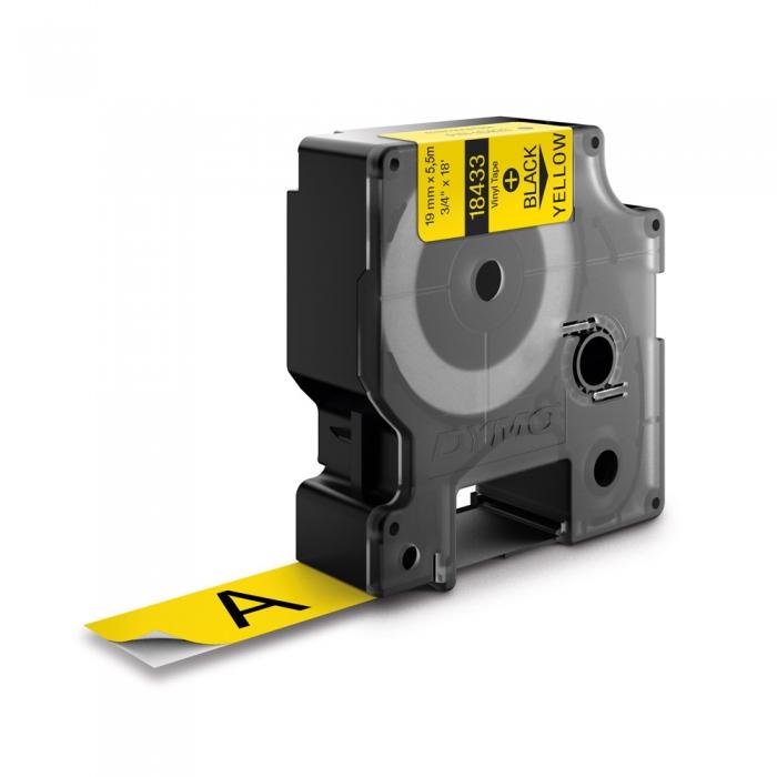 Etichete industriale autocolante, DYMO ID1 vinil, 19mm x 5.5m, negru/galben, 18433 S0718470-big