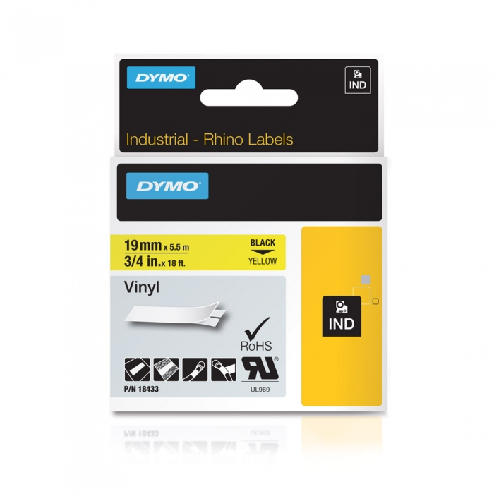 DYMO industrial, All purpose vinyl labels, 19mm x 5.5m, black on yellow, 18433 S0718470-big