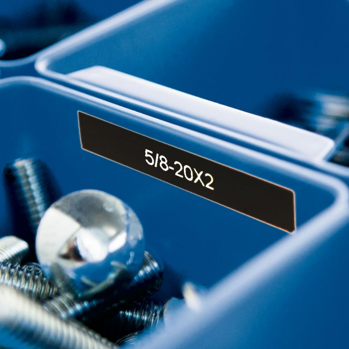 Etichete industriale autocolante, DYMO ID1 vinil, 12mm x 5.5m, alb/negru, 1805435-big