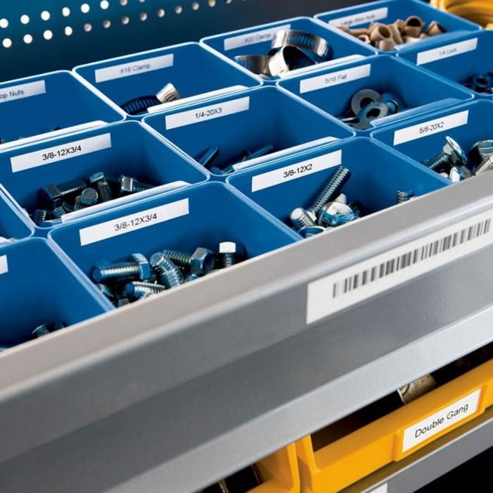 Etichete industriale autocolante compatibile, DYMO ID1, nailon flexibil, 19mm x 3.5m, negru/alb, 18489 S0718120-C-big