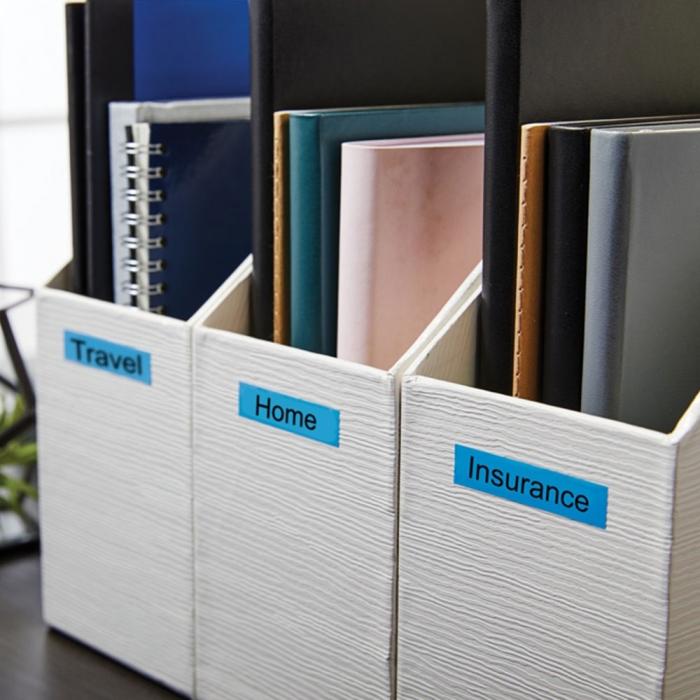Etichete autocolante, DYMO LabelManager D1, 12mm x 7m, negru/albastru, 45016, S0720560-big