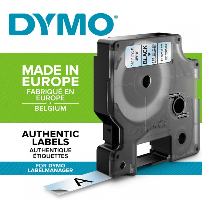 DYMO LabelManager D1 labels, 12mm x 7m, black on clear, 45010 S0720500-big